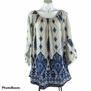 New Gypsy Boho On Off Shoulder Tunic Top L/XL NWOT
